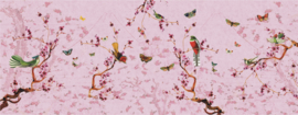 Birds & Butterflies 673x260 op naadloos pvc