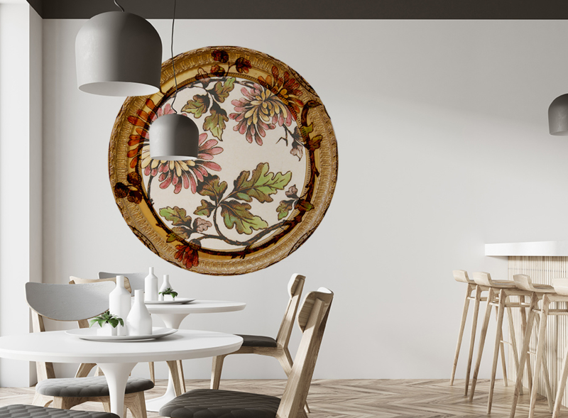 Framed Wallpaper circle FLOWER