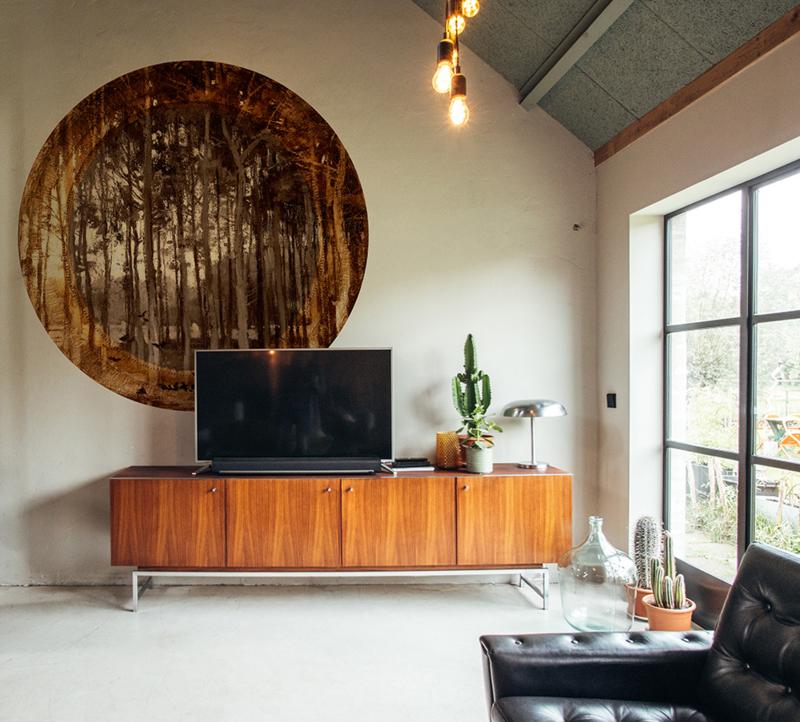 Framed Wallpaper circle TREES