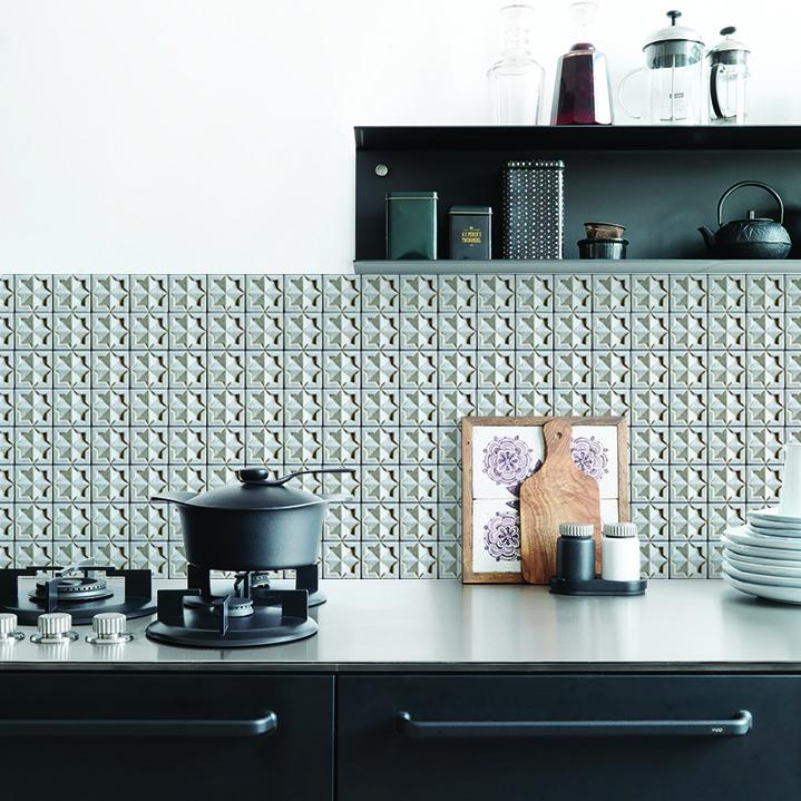 Concrete 3d tile backsplash wallpaper KitchenWalls