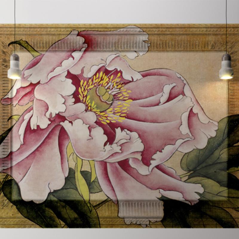Framed Wallpaper PINK FLOWER