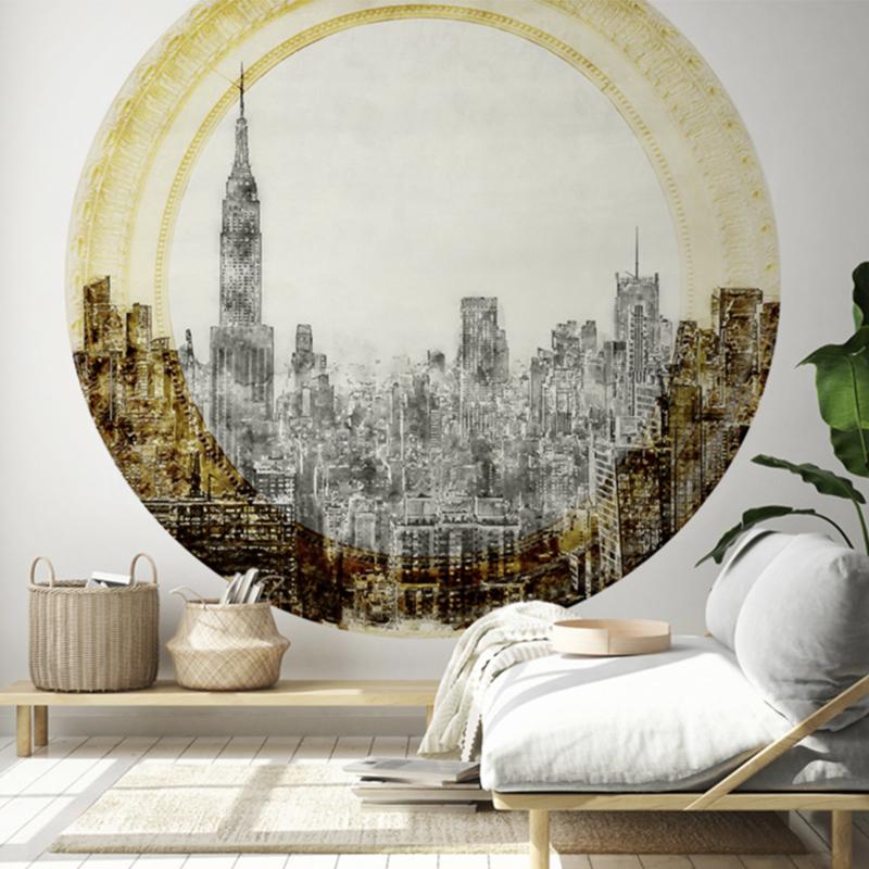 Framed Wallpaper circle CITY