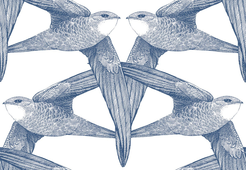 Bien Fait WHITE BIRDS indigo