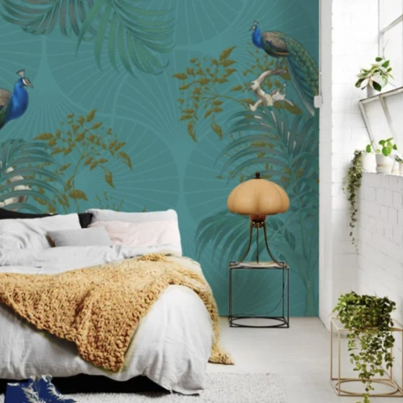 PEACOCK PALM WALL turquoise