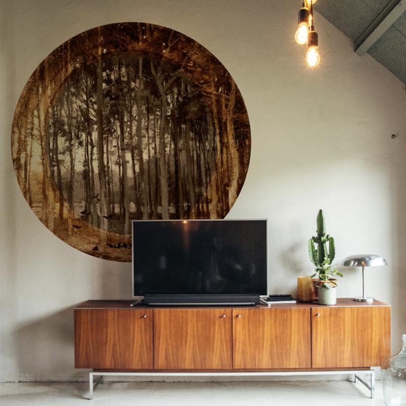 Framed Wallpaper cirkel TREES