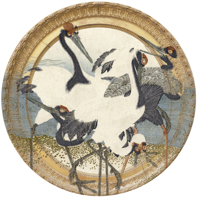 Framed Wallpaper circle CRANES