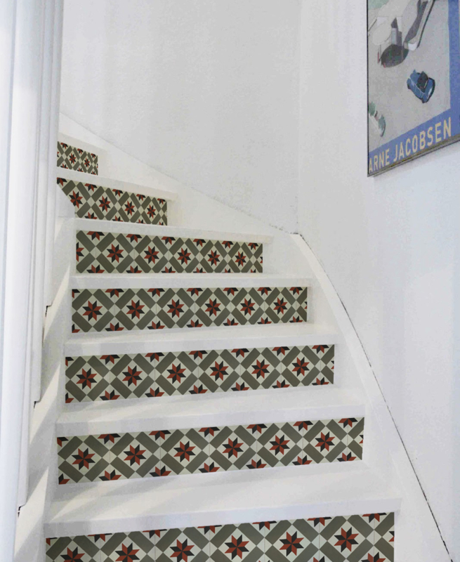 Stair Sticker CEMENT TILE OLIVE