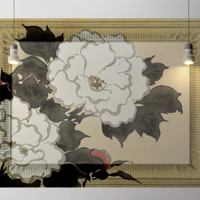 Framed Wallpaper WHITE FLOWER