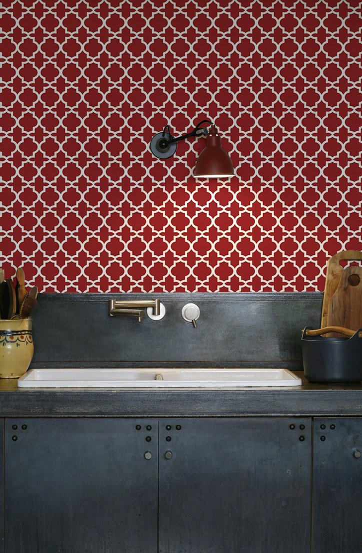 kitchenwalls_backsplash wallpaper_oriental_industrial kitchen