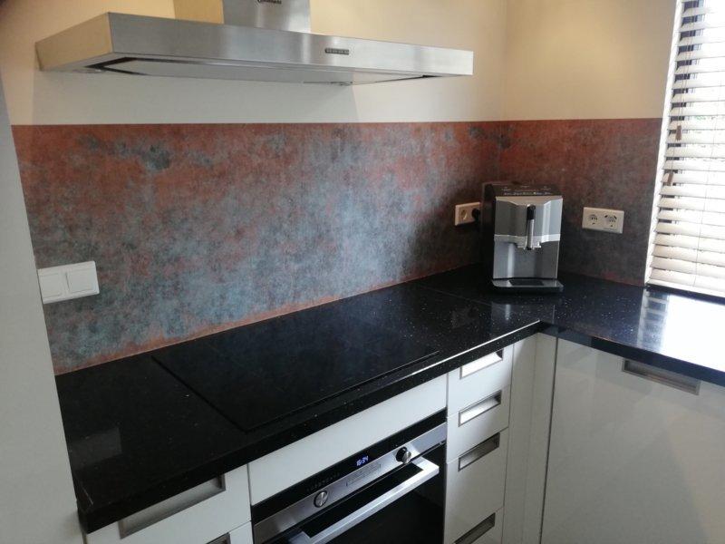 bronze koper keukenbehang kitchenwalls