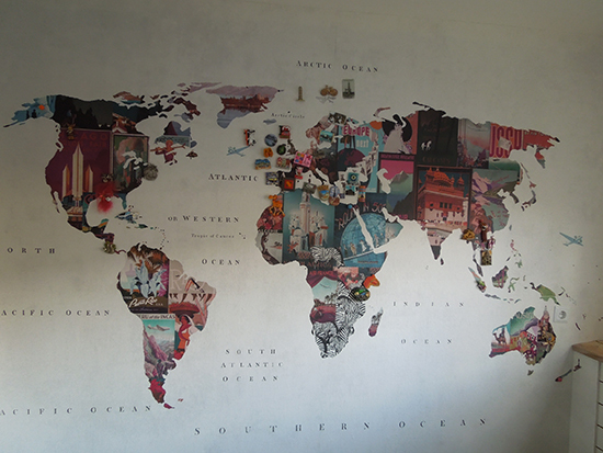 vintage map magnetic wallpaper
