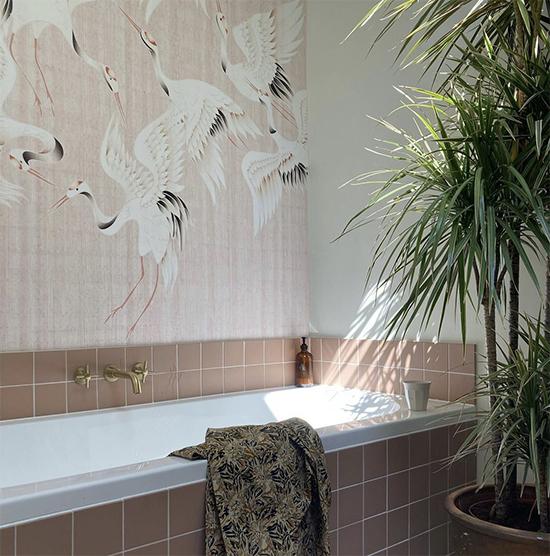 mural wallpaper japanese cranes behangfabriek