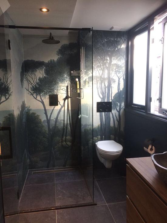 waterproof shower wallpaper enchanted forest behangfabriek
