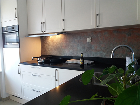 backsplash wallpaper bronze copper kitchenwalls
