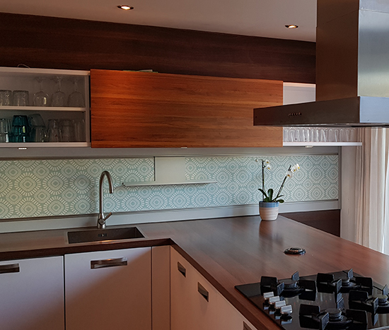 kitchenwalls backsplash wallpaper retro green