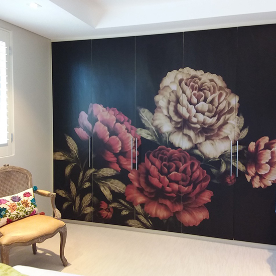 peonies on black wardrobe wallpaper