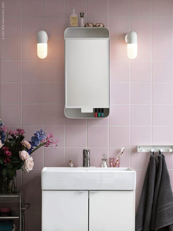 ikea gunnern mirror cabinet bathroom pink