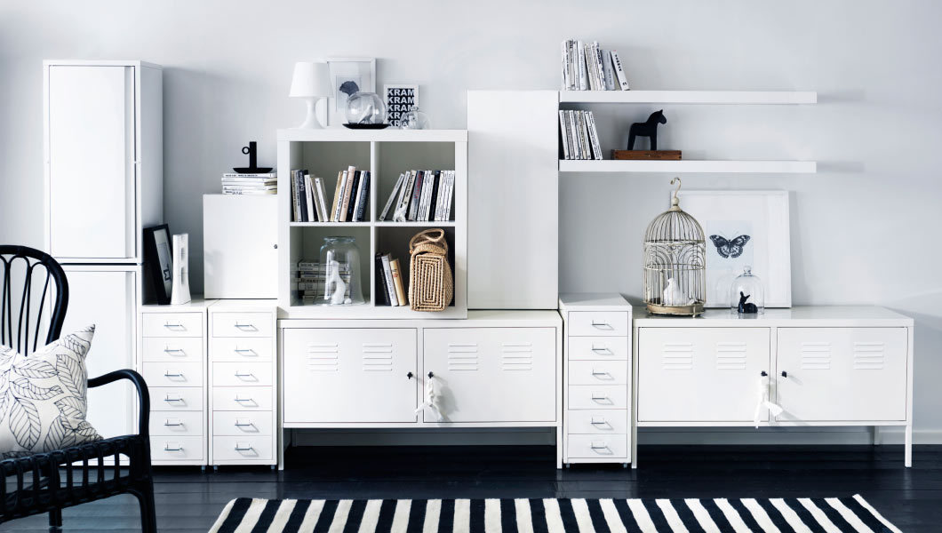 ikea ribba, kallax, ps locker, wit