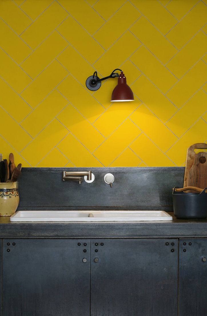 kitchen-walls herringbone tile wallpaper yellow
