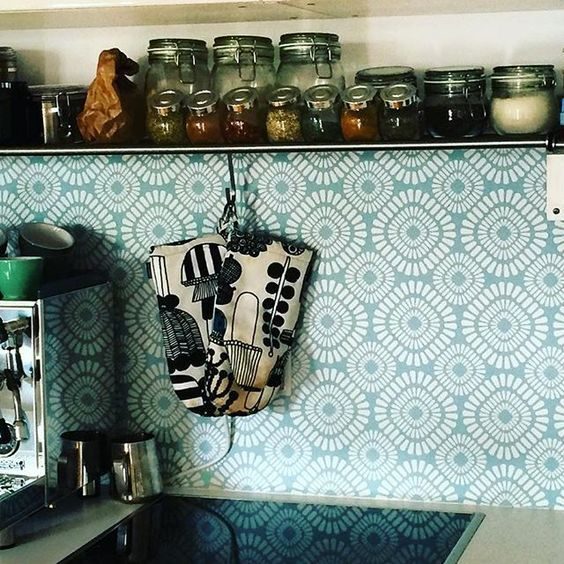 kitchenwalls keukenbehang klant retro green