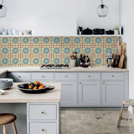 kitchen walls backsplash wallpaper retro tile