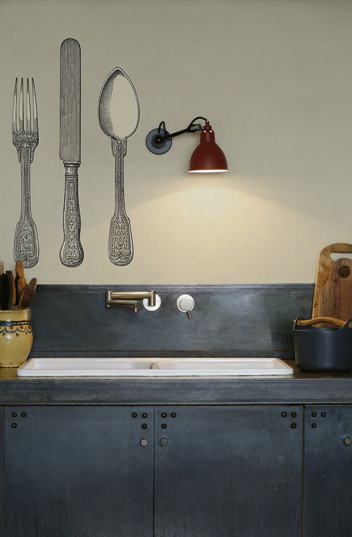 kitchenwalls wallpaper backsplash cutlery vintage