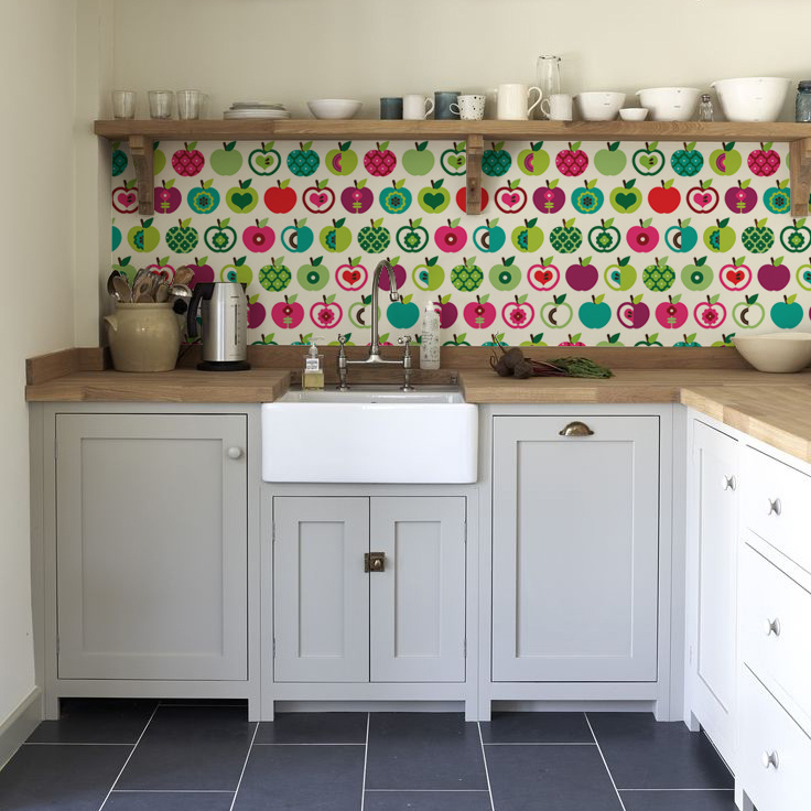 kitchenwalls_backsplash_wallpaper_apple_classic kitchen