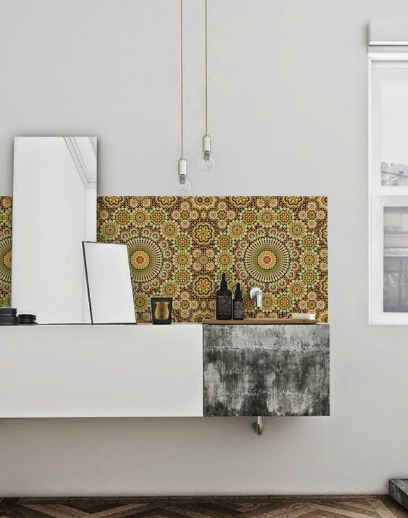 kitchenwalls wallpaper bathroom maroc retro