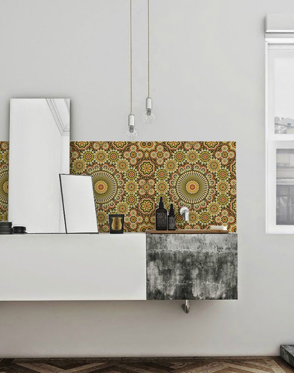 kitchenwalls wallpaper bathroom maroc retro