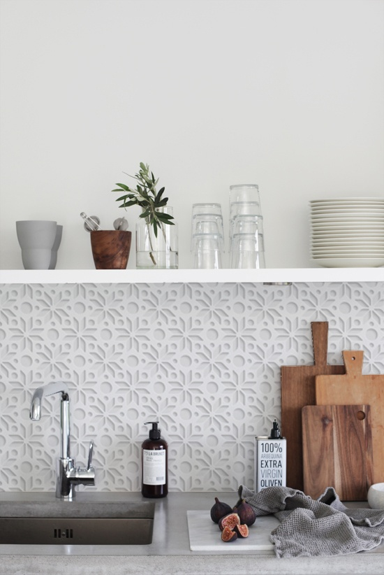 kitchenwalls backsplash wallpaper keukenbehang white 3d