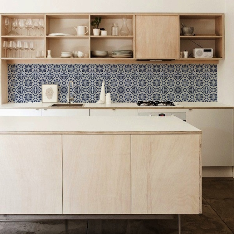 kitchenwalls keukenbehang blue tile