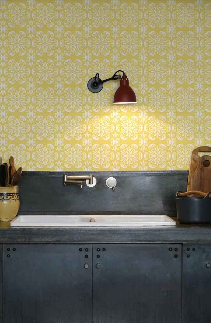 kitchenwalls wallpaper kitchen ornament yellow