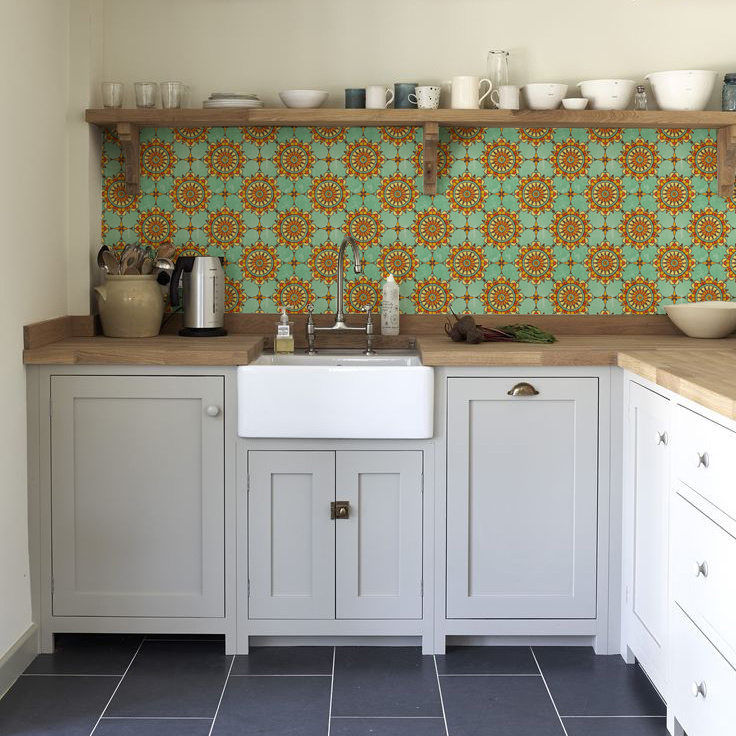 kitchenwalls_backsplash wallpaper_ibiza_classic kitchen