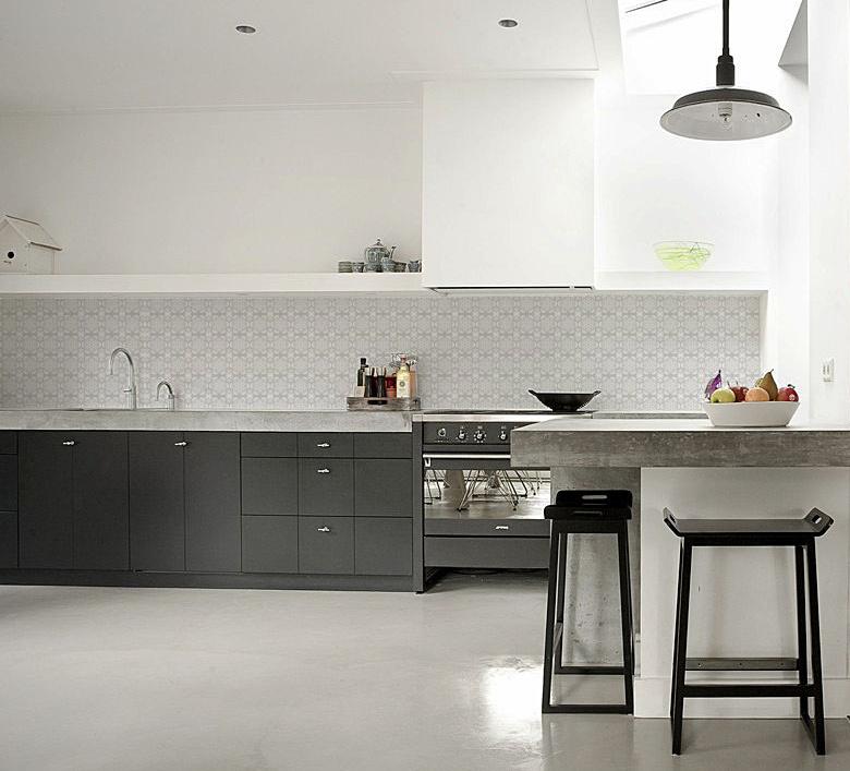 kitchenwalls keukenbehang tegel grijs op maat