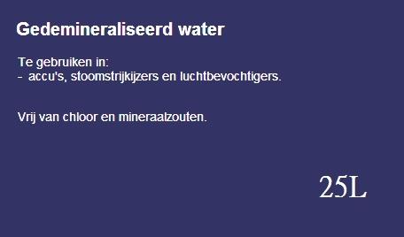 Gedemineraliseerd water 25L (franco geleverd)