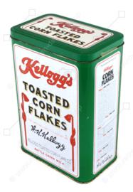 Boîte vintage pour Kellogg's Cornflakes, boîte de rangement verte, There's a Good Time Coming