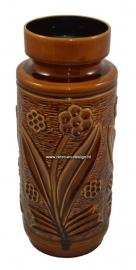 Hoge bruin geglazuurde aardewerk vloervaas met bloemmotief nr 70/40