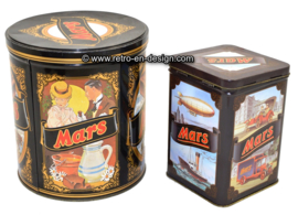 Set of two vintage tins by Mars with historical and nostalgic images