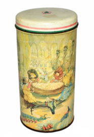 Cylindrical vintage biscuit tin made by De SPAR with fairy-tale characters