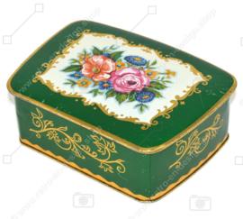 Lata vintage verde con adornos dorados y rosas en la tapa, recipiente fabricado en Alemania