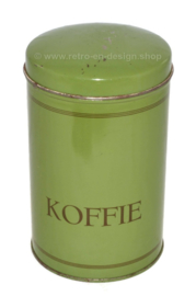 "Vintage reseda green coffee tin with text ""Koffie"""