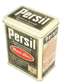 Rechteckige Retro-Vintage Blechdose von Persil für selbsttätiges Waschmittel mit Aufschrift: Wascht alles!