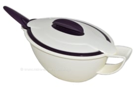 Tupperware iso duo sauce bowl or sauceboat in dark purple and ivory white with spoon