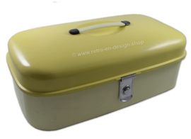 Cream-colored yellow vintage bread bin by Brabantia 1950s