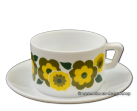 Vintage Arcopal France LOTUS coffee cup and saucer, Yellow/green