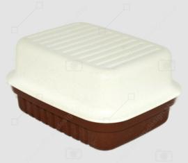 Vintage Tupperware Cracker Server oder Käsebox in Braun und Weiß