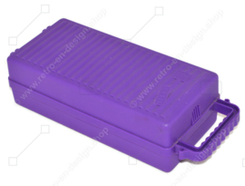 Vintage purple plastic cassette holder, storage box for 12 cassette tapes