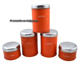 Vintage orange Brabantia tin storage or stock container set
