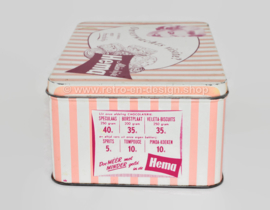 Pink retro tin for biscuits by Hema with pictures of the shop's interior