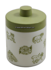 Opaline jar for mocha coffee. Constellations, pastel green lid